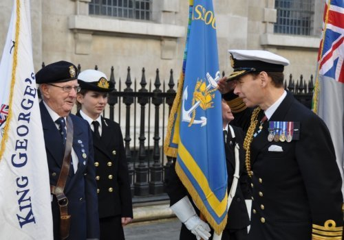Second Sea Lord Vice Admiral David Steel Talks to Standard Bearers