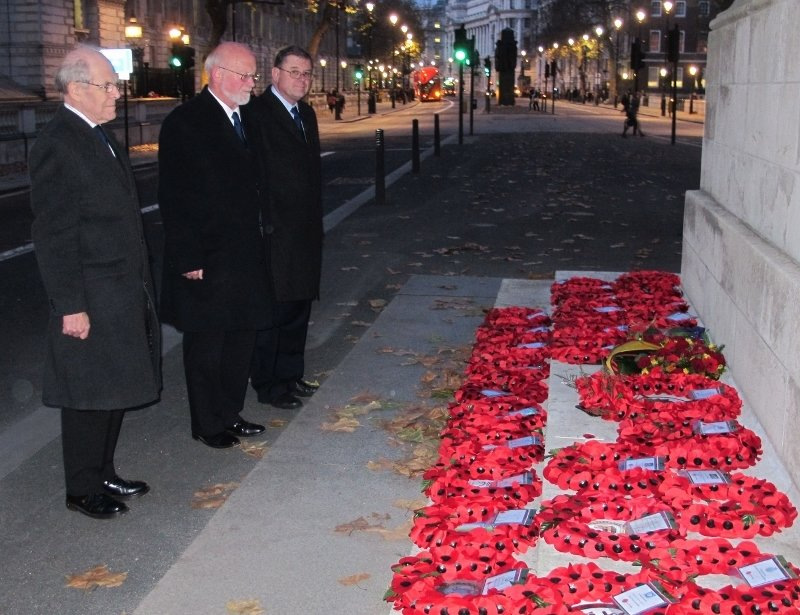 Wreaths Transferred to the Cenotaph by the Falkland Islands Association After the Service