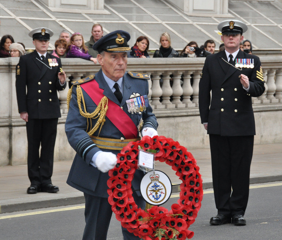 Air Chief Marshal Sir Peter Squires goes forward to lay his wreath for Britains Armed Forces- DSC 0031